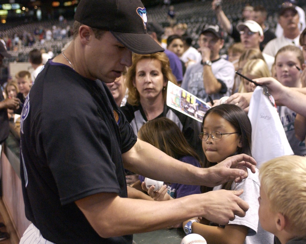 Baseball Camp & Arizona Baseball Clinics leader Chad Moeller signs autographs for baseball fans