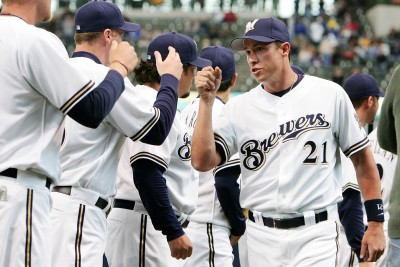 Chad Moeller MLB with Brewers Teammates